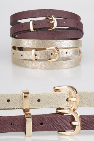 Belts 2 PACK Gold & Burgundy Skinny Belts With Pin Buckle Fastening 152311