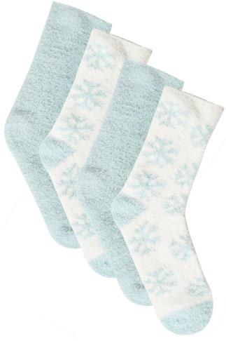 Socks 2 PACK Mint & White Snowflake Print Cosy Socks 102905