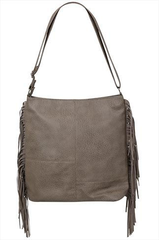 Taupe Shoulder Bag With Side Tassel Detail