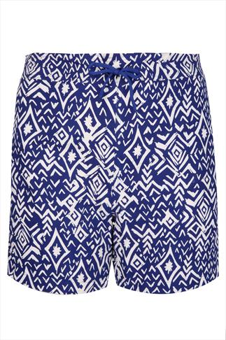 Blue & White Aztec Print Board Shorts With Drawstring Waist