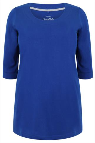 Cobalt Blue Scoop Neckline T-shirt With 3/4 Sleeves