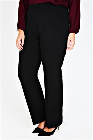 Bootcut Black Pull On Ribbed Bootcut Trousers - PETITE 013000