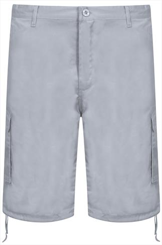 NOIZ Grey Cotton Cargo Shorts With Pockets