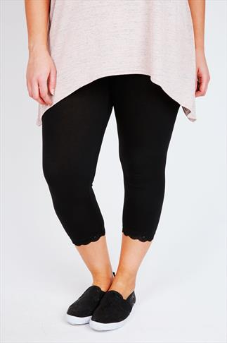 Black Cotton Elastane Crop Legging With Lace Trim