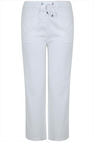 White Linen Mix Full Length Trousers With Four Pockets 30""