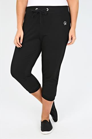 Black Cropped Jogger With Cuffs And Silver Crown Embellishment