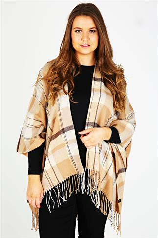 Cream & Brown Checked Wrap
