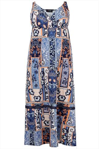 Navy & Peach Tile Print Maxi Dress