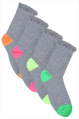 Socks 4 PACK Grey Coloured Heel Toe Socks In Extra Wide Fit 057254