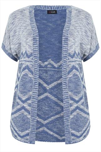 Blue & White Aztec Print Knitted Cardigan