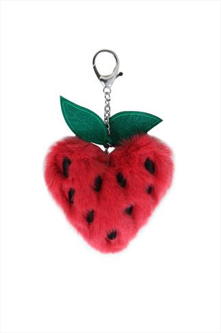 Pink Strawberry Fluffy Pom Pom Keyring