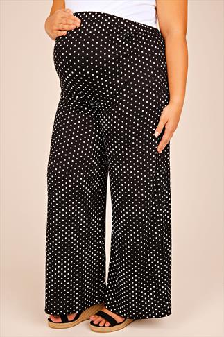 BUMP IT UP MATERNITY Polka Dot Palazzo Trousers With Comfort Panel