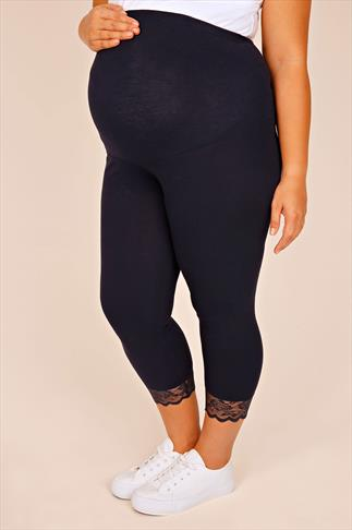BUMP IT UP MATERNITY Navy  Cropped Leggings With Lace Trim