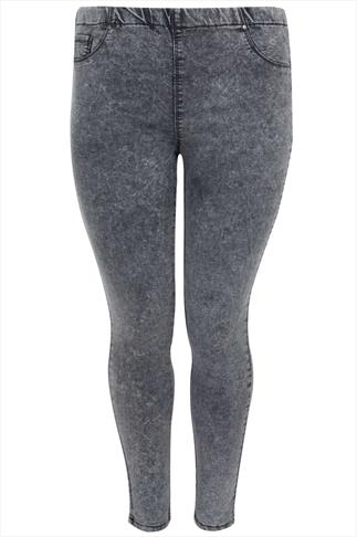 Grey Acid Wash Denim Jegging With Elasticated Waist