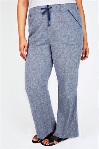 Linen Mix Blue Cross Dyed Cotton Linen Mix Full Length Pull On Trousers 055728