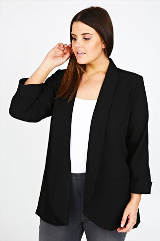 Black Edge To Edge Crepe Boy Jacket With Faux Pockets