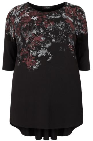 Black Studded Floral Top With Godet Back