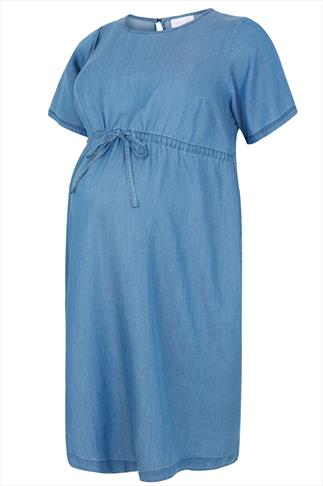 BUMP IT UP MATERNITY Light Blue Tie Waist Denim Dress