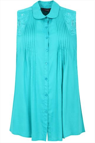 Jade Pintuck Sleeveless Longline Shirt With Cut Work