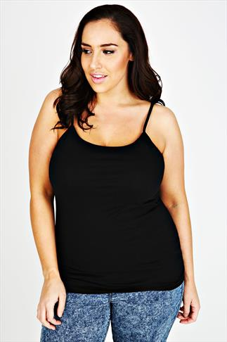 Black Longline Cotton Elastane Vest Top With Adjustable Straps