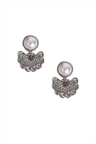 Pearl & Diamanté Cluster Earrings
