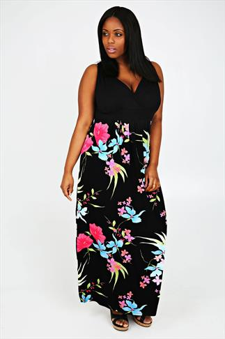 Black And Multi Floral Print Maxi Dress With V-Neckline