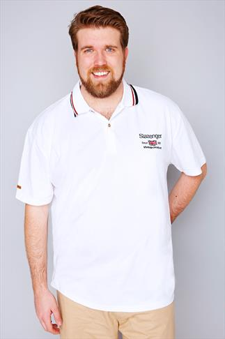 Polo Shirts White Slazenger Vintage Polo Shirt With Striped Collar 070311