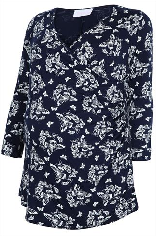 BUMP IT UP MATERNITY Navy & White Butterfly Print Wrap Top