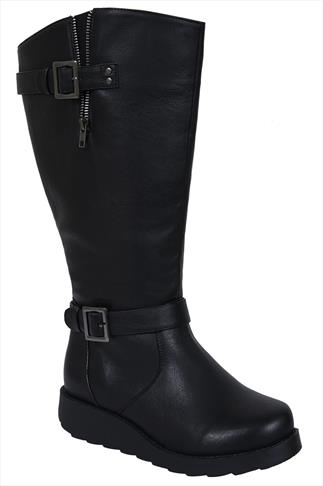 Black Long Boots With Wedge Heel & Buckle Detail In EEE Fit