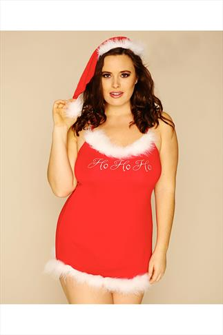 DREAMGIRL Red Jersey Santa Chemise With Matching Hat