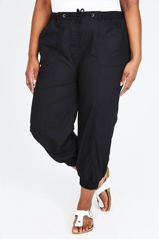 Black Cropped Poplin Trousers With Ribbed Waistband