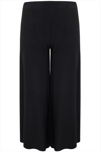 Black Super Wide Leg Jersey Palazzo Trousers 30""