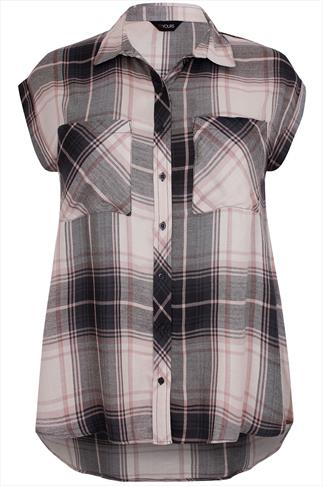 Pink And Grey Checked Shirt With Turnback Sleeves