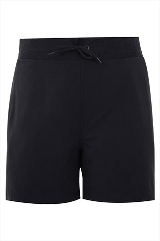 Black Board Shorts With Drawstring Waist