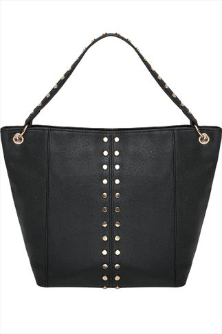 Black Textured Leather Look Shopper Bag With Gold Studs
