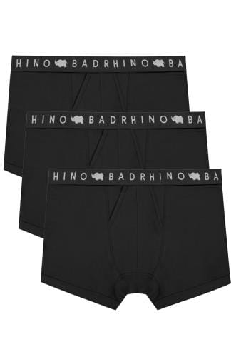 3 PACK BadRhino Black Elasticated A Front Boxers