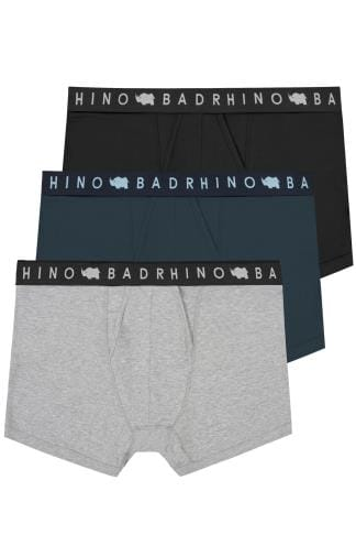 3 PACK BadRhino Black, Navy & Grey Marl Elasticated A Front Boxers