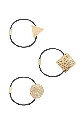 Hair Accessories 3 PACK Black & Gold Hairbands With Metal Shape Attachments 102851