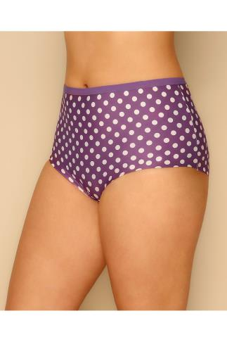 3 PACK Black, Purple Spots & Pink Hearts No VPL Full Briefs