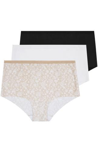 Multipacks 3 PACK Black, White & Nude Lace Print No VPL Full Briefs 146135