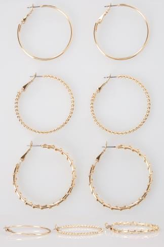 3 PACK Gold Medium Hoop Earrings