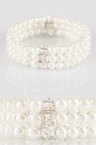 3 PACK Ivory Pearl Stretch Bracelets With Diamante Sparkle Detail