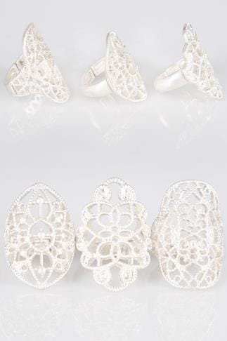3 PACK Silver Filigree Rings