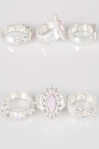 Bijoux Bagues 3 PACK Silver Stretch Jewel Embellished Rings With Diamante Detail 152454