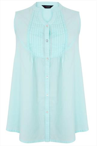 Pastel Blue Sleeveless Blouse With Pintuck Detail