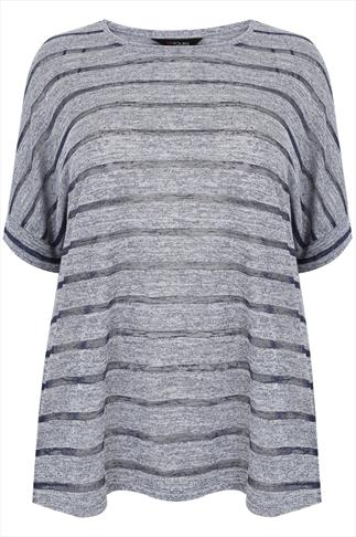 Navy & Grey Marl Striped  Fine Knit Drop Shoulder Top