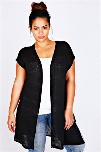 Black Longline Knitted Shrug With Extended Shoulders