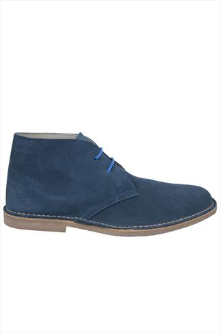 Blue SUEDE Desert Boot In Wide Fit