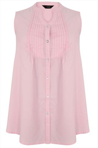 Pastel Pink Sleeveless Blouse With Pintuck Detail