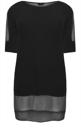 Black Longline Top With Sheer Panels And Dipped Hem